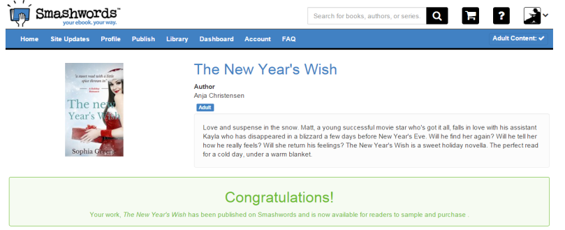 Yay - The New Year's Wish er oppe på Smashwords!